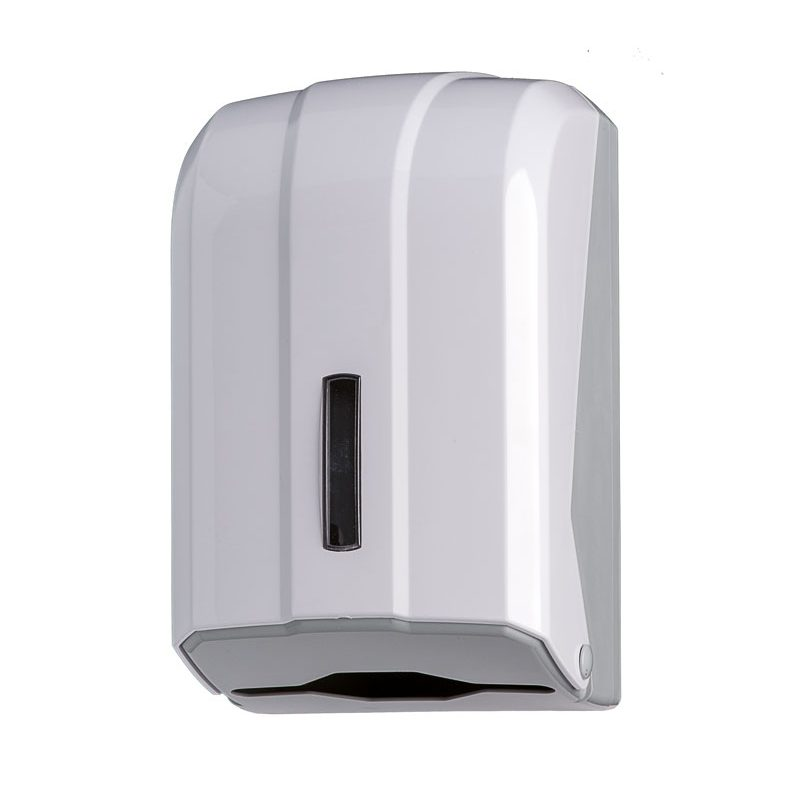 distributore carta igienica interfogliata 300 fogli in ABS bianco, base grigia