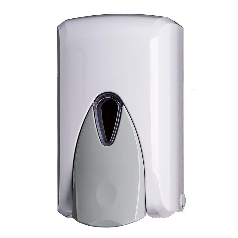distributore sapone liquido lt 0,5 in ABS bianco e frontale grigio