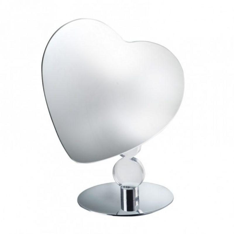 specchio ingranditore cuore appoggio - stelo con cerchi in plexiglass trasparente e base in ottone cromato